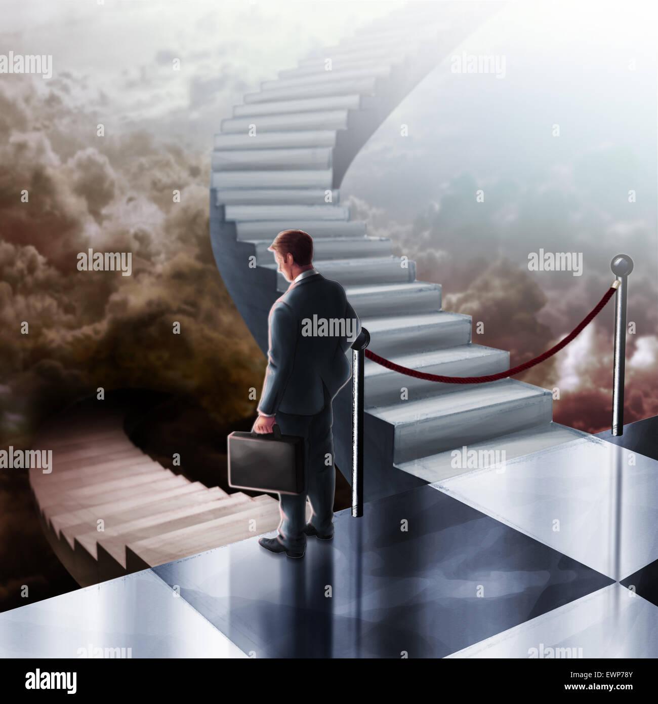 Illustrative image of sad businessman walking down staircase - Stock Image