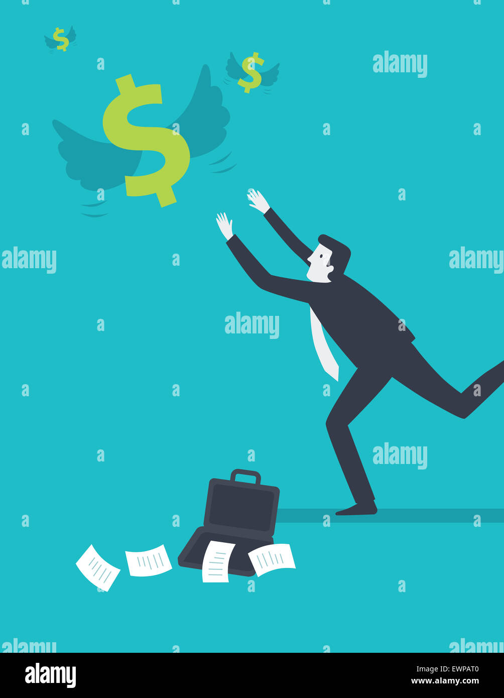 Businessman chasing after money from heaven - Stock Image