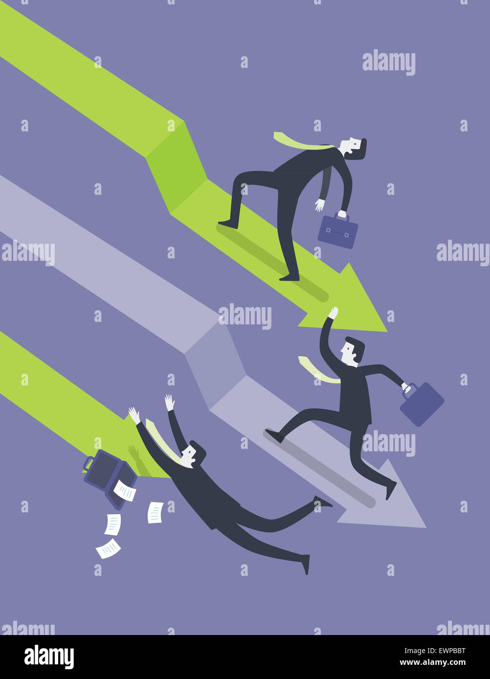 Business people struggling in recession period - Stock Image