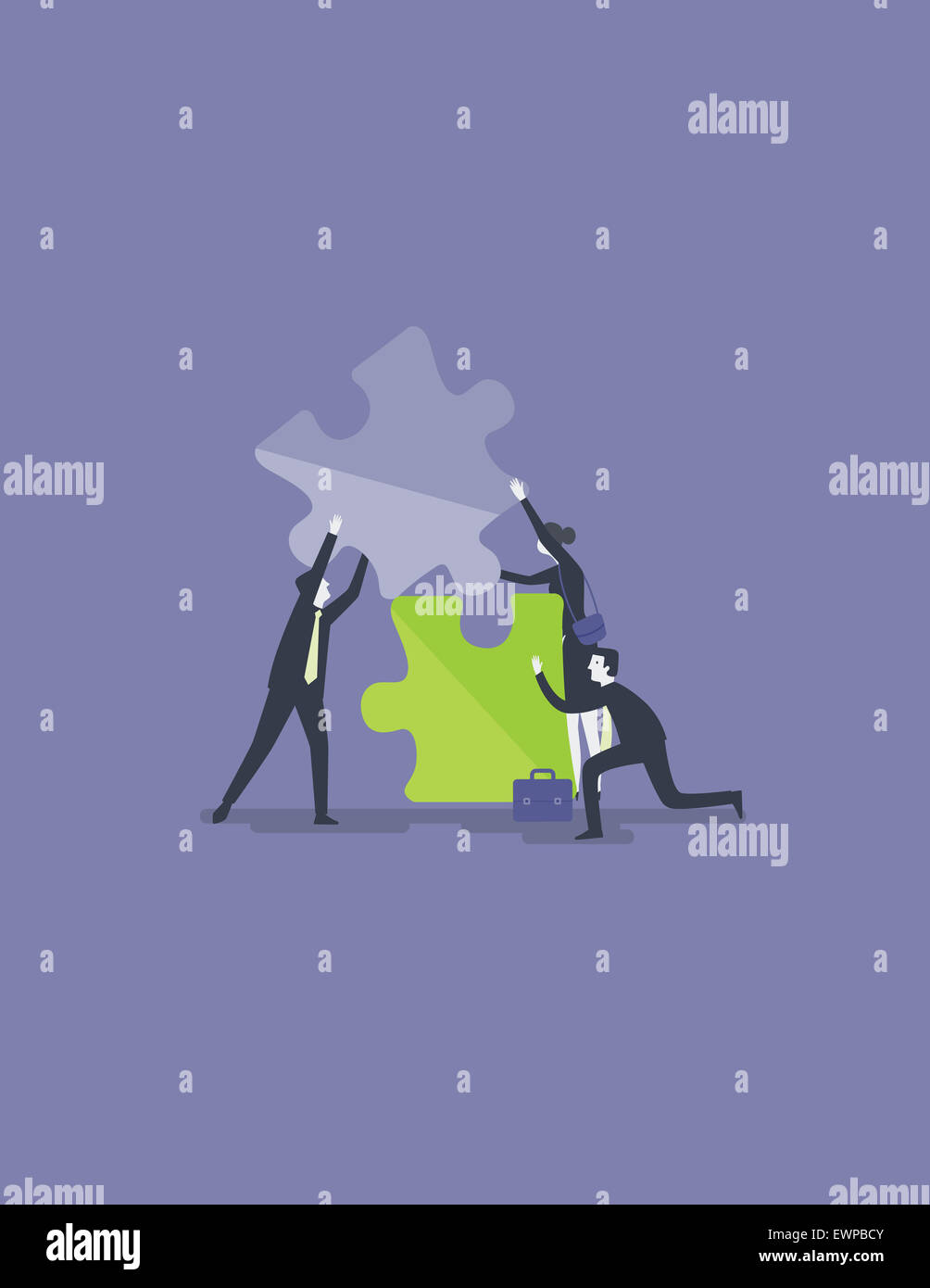 Business people fixing jigsaw piece for solution to collaborate or merge - Stock Image