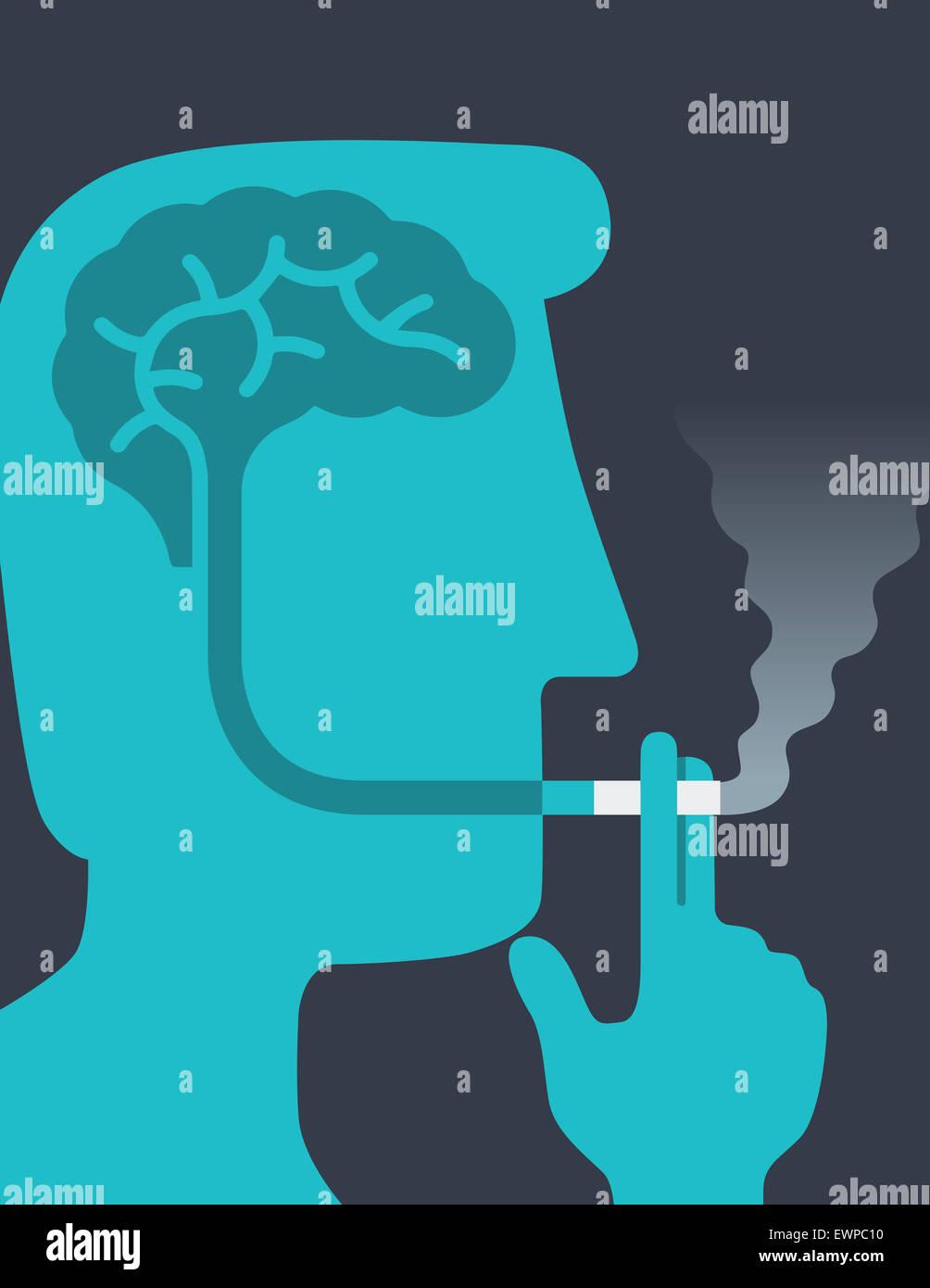 Anatomy of man brain representing danger smoking cigarette - Stock Image