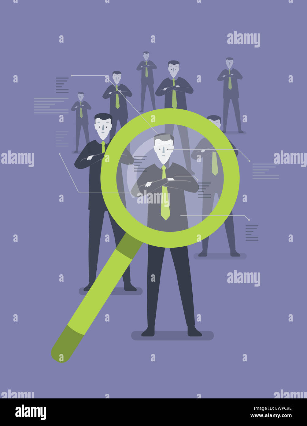 Business people identifying by magnifying glass - Stock Image