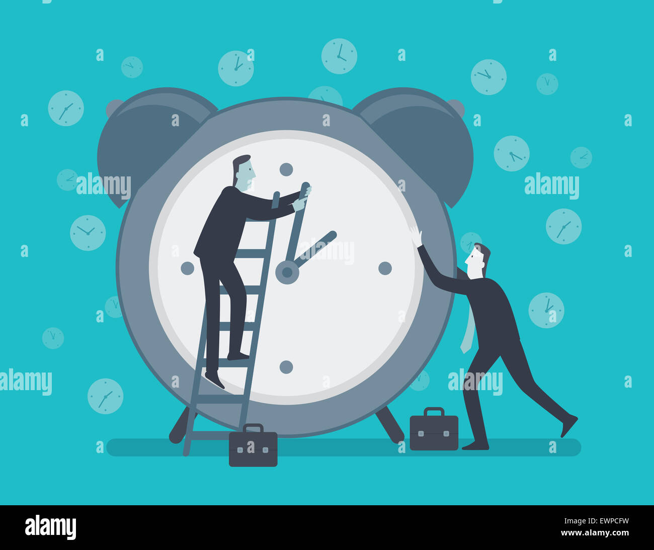 Conceptual image representing businessmen trying to stop time - Stock Image