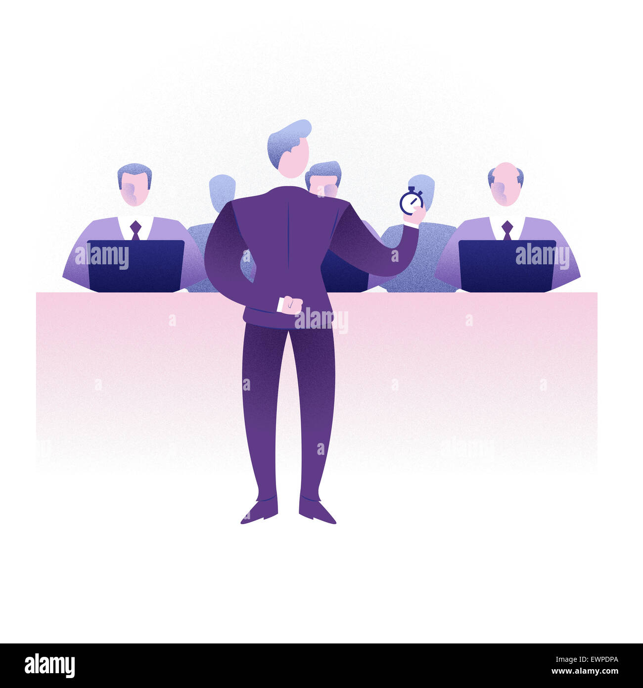 Businessman giving presentation to colleagues - Stock Image