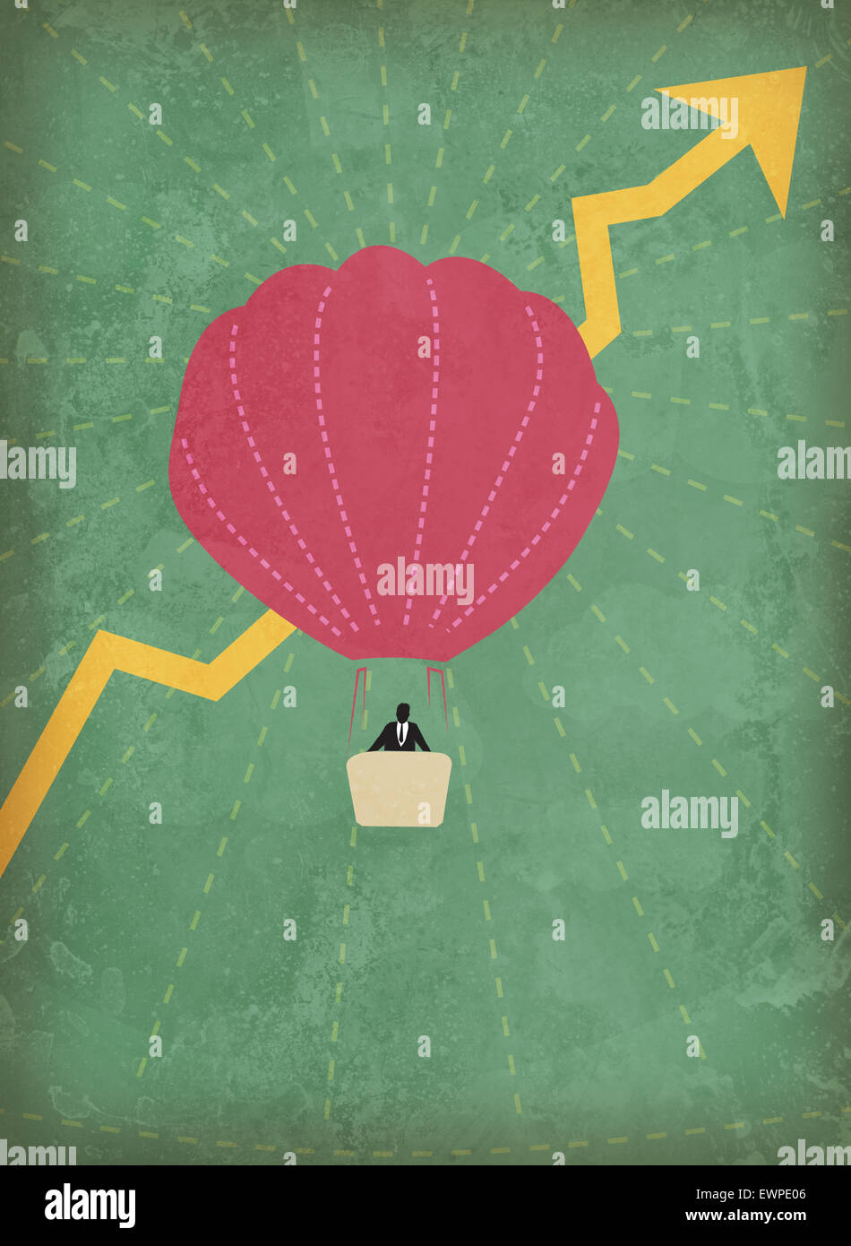 Businessman flying in hot air balloon with rise in profit - Stock Image