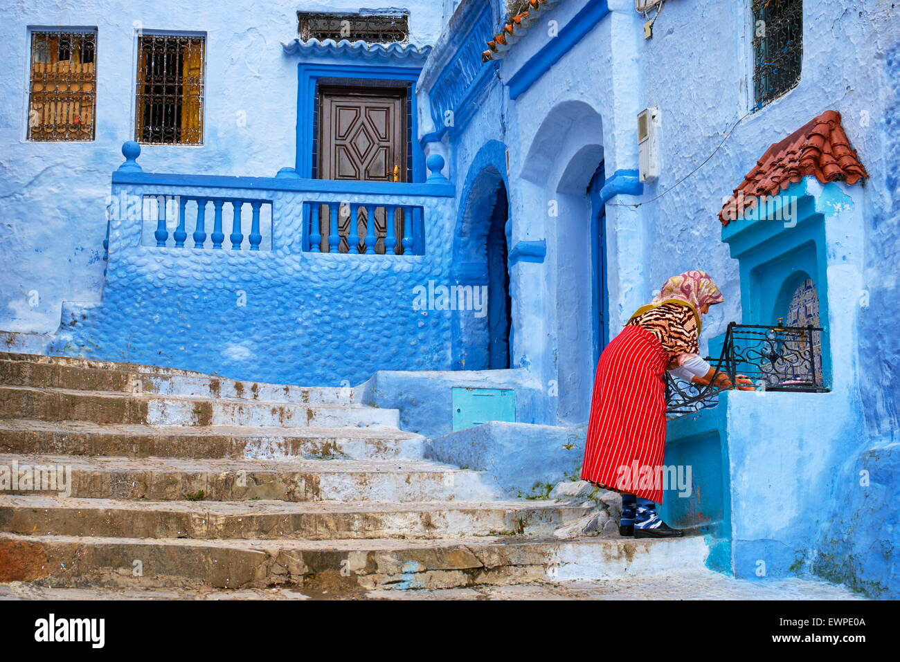 Blue painted walls in old medina of Chefchaouen (Blue City) Morocco Africa & Blue painted walls in old medina of Chefchaouen (Blue City) Morocco ...