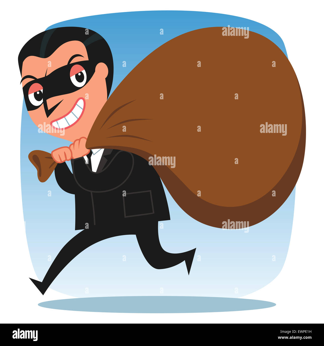 Business thief sneaking out with sack of wealth on his shoulder - Stock Image