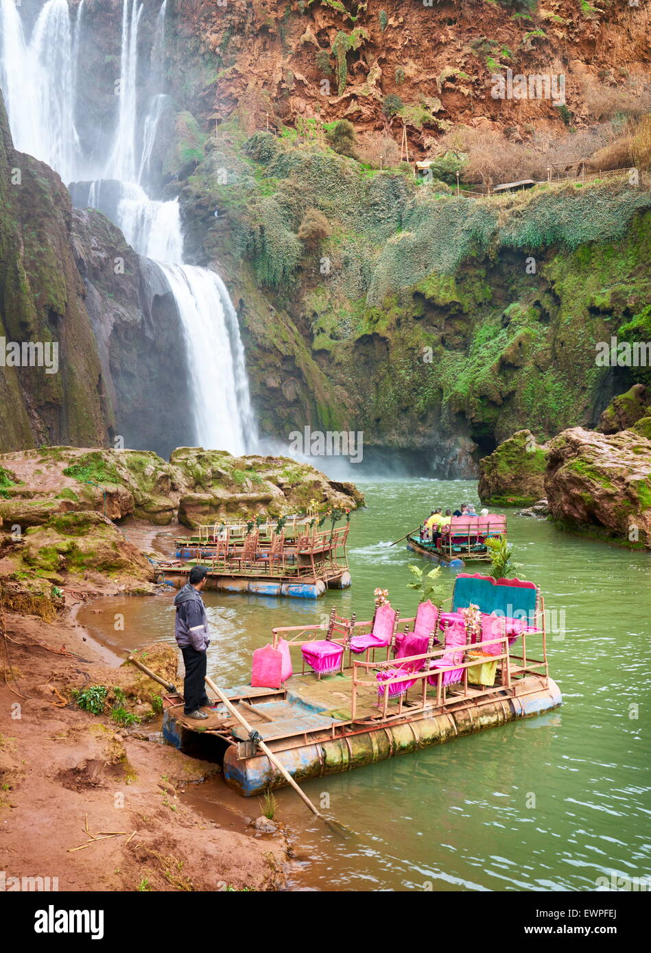 The raft waiting for tourists at the Ouzoud Waterfall. High Atlas, Morocco - Stock Image