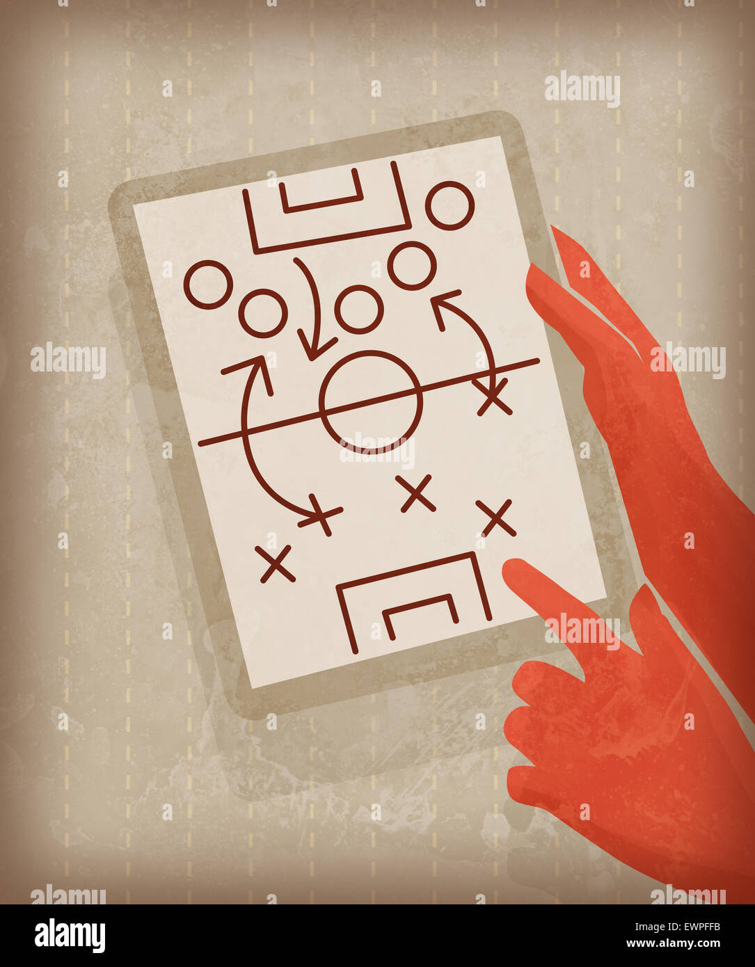 Illustration image of businessman drawing game strategy - Stock Image
