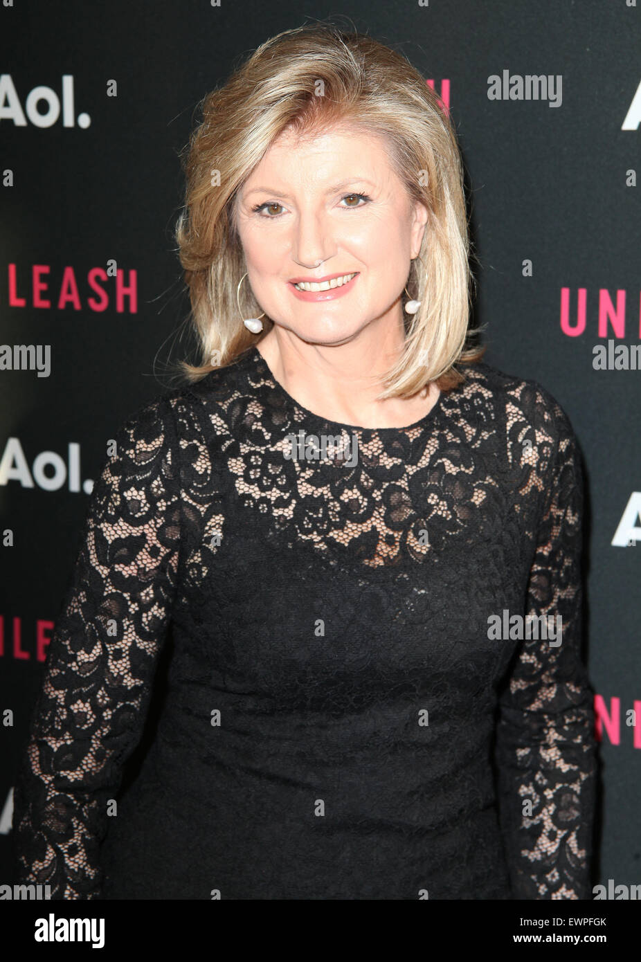 AOL 2015 NewFront presents AOL Unleash at the 4 World Trade Center - Arrivals  Featuring: Arianna Huffington Where: - Stock Image