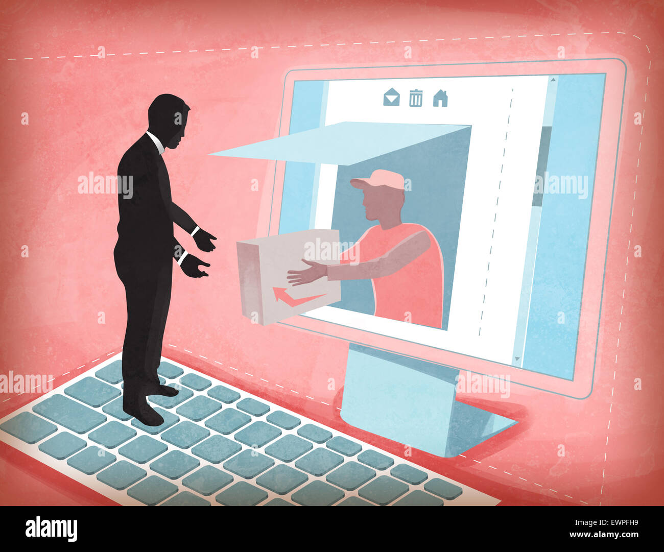 Delivery Man emerging out from computer monitor giving order to customer - Stock Image