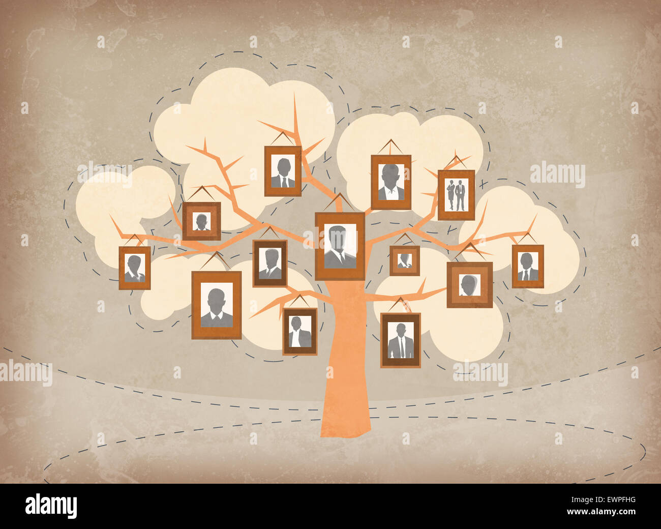 Illustrative image of business people attached to tree branches representing growth and teamwork - Stock Image