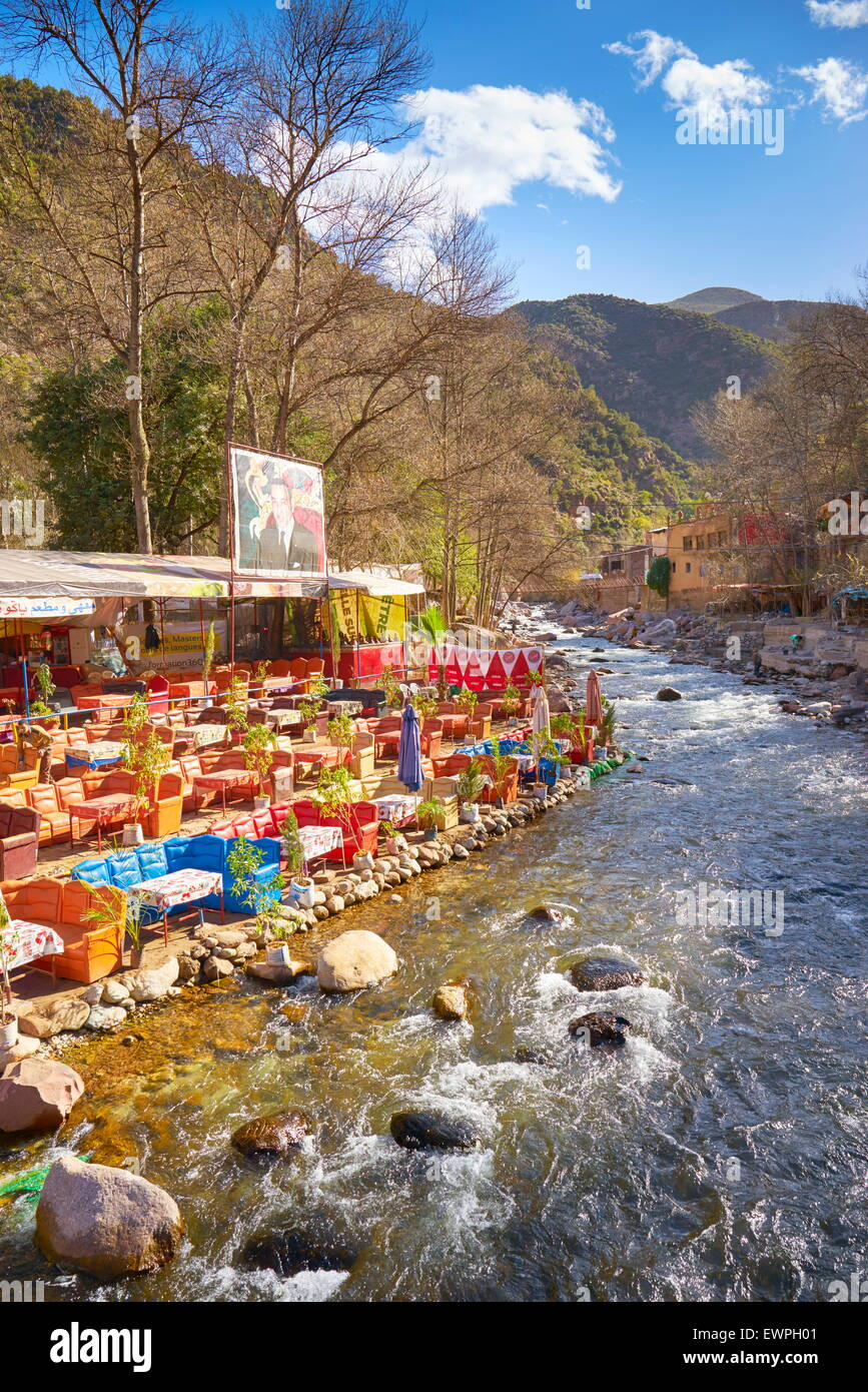 Ourika Valley. Restaurant on the banks of the river. Morocco - Stock Image