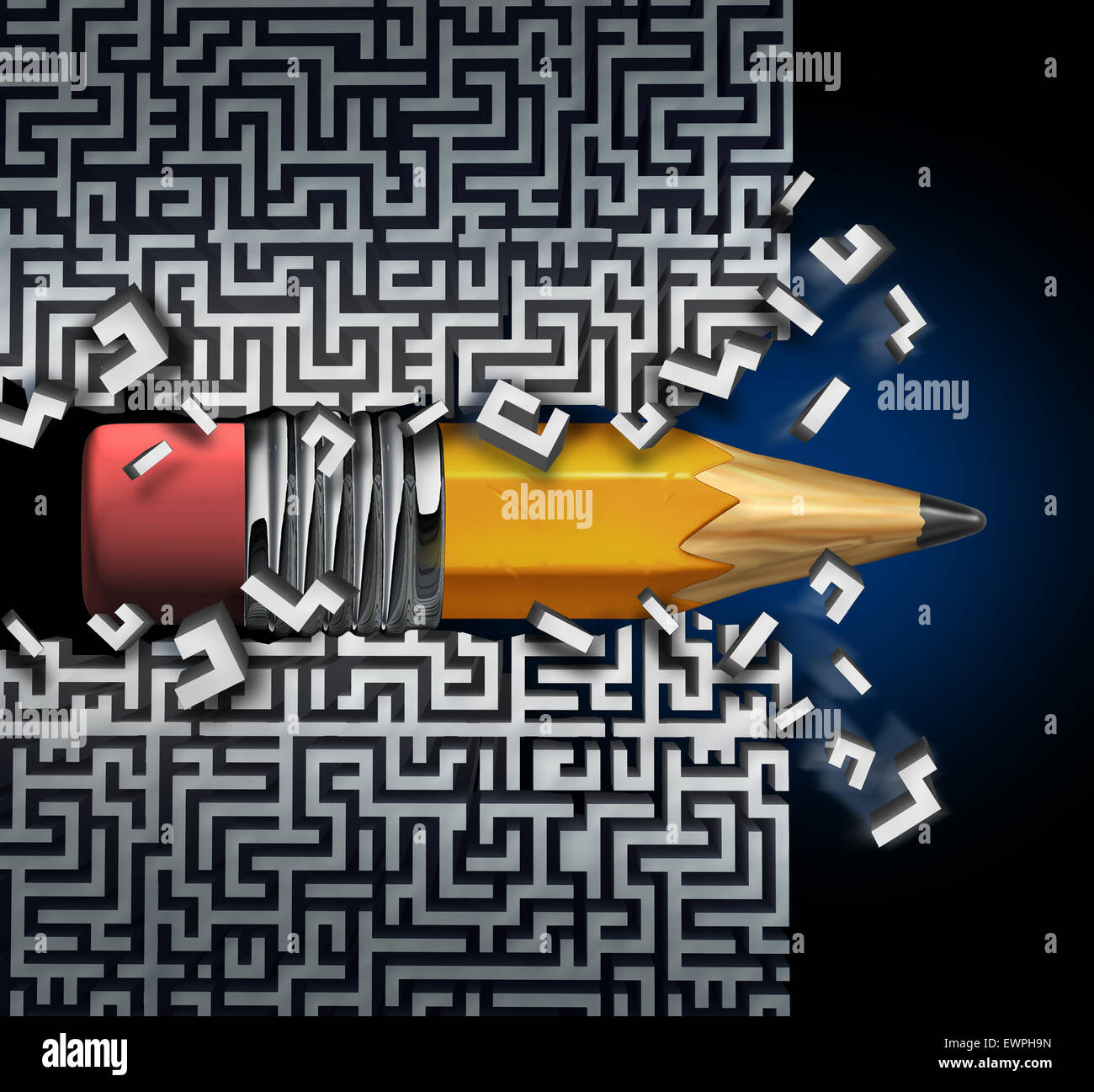 Innovative solution plan as a pencil  trying to find way out of maze breaking through the labyrinth as a business - Stock Image