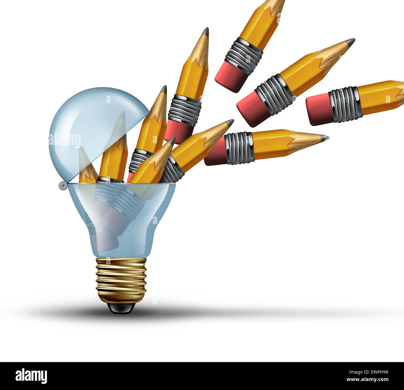 Imagination and creativity concept as an open light bulb or lightbulb symbol for out of the box thinking with a - Stock Image