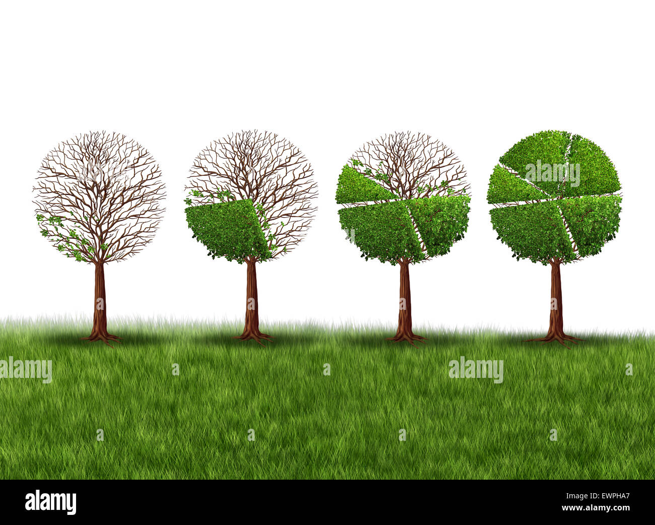 Economy prosperity and economic success financial concept as a group of green trees shaped as growing finance pie - Stock Image