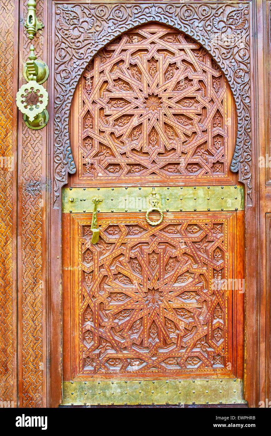 Ornamental door, Morocco, Africa Stock Photo