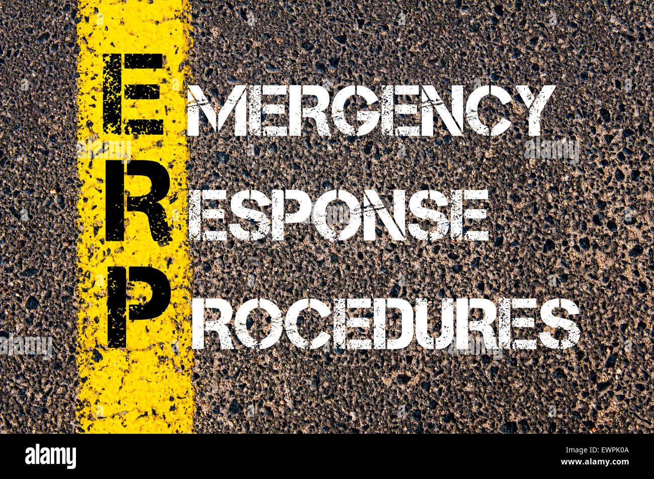 Concept image of Business Acronym ERP as Emergency Response Procedures written over road marking yellow paint line. - Stock Image