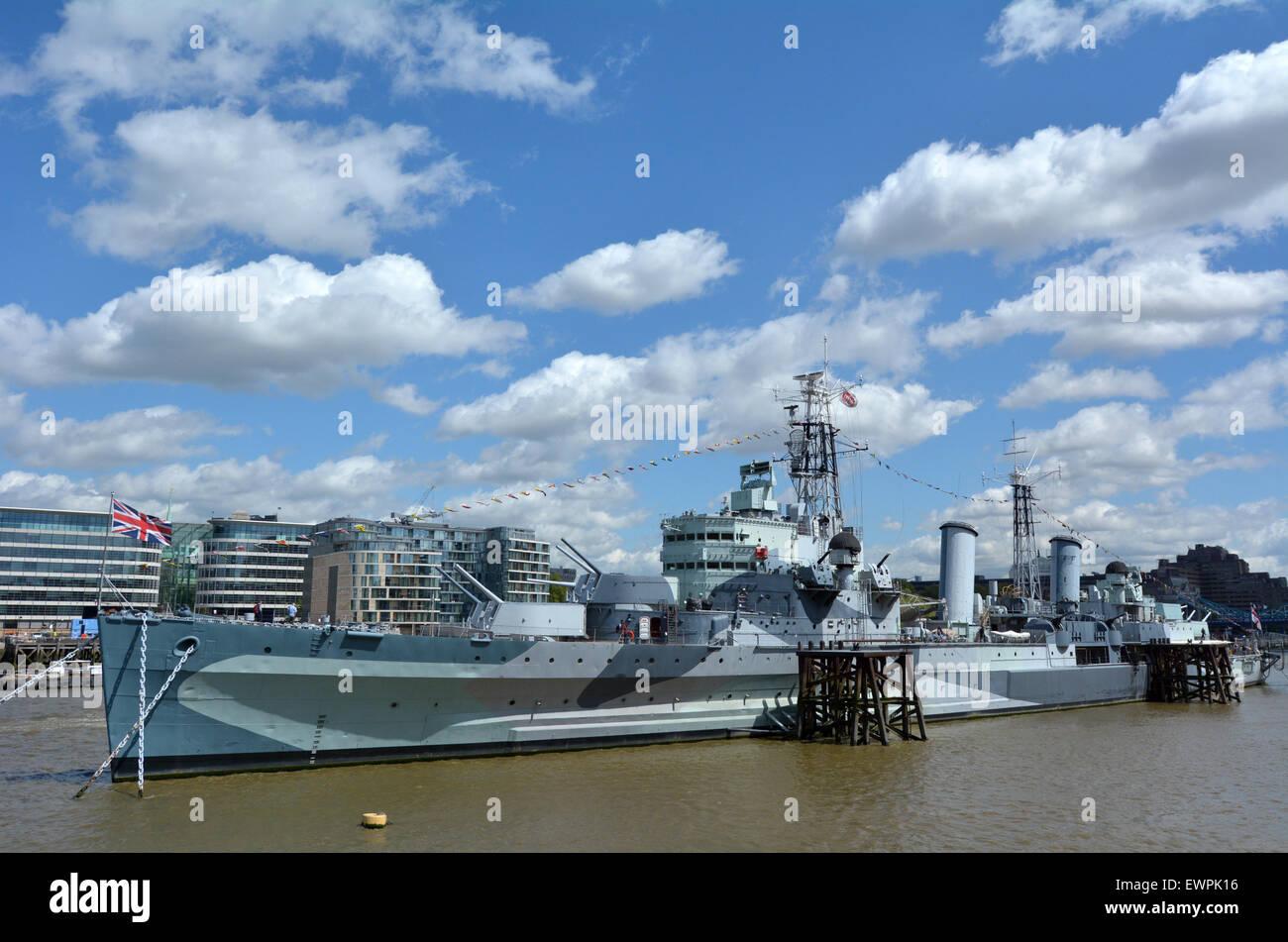 LONDON - MAY 13 2015:HMS Belfast (C35) London England UK.It's a museum ship, originally a Royal Navy light cruiser, - Stock Image