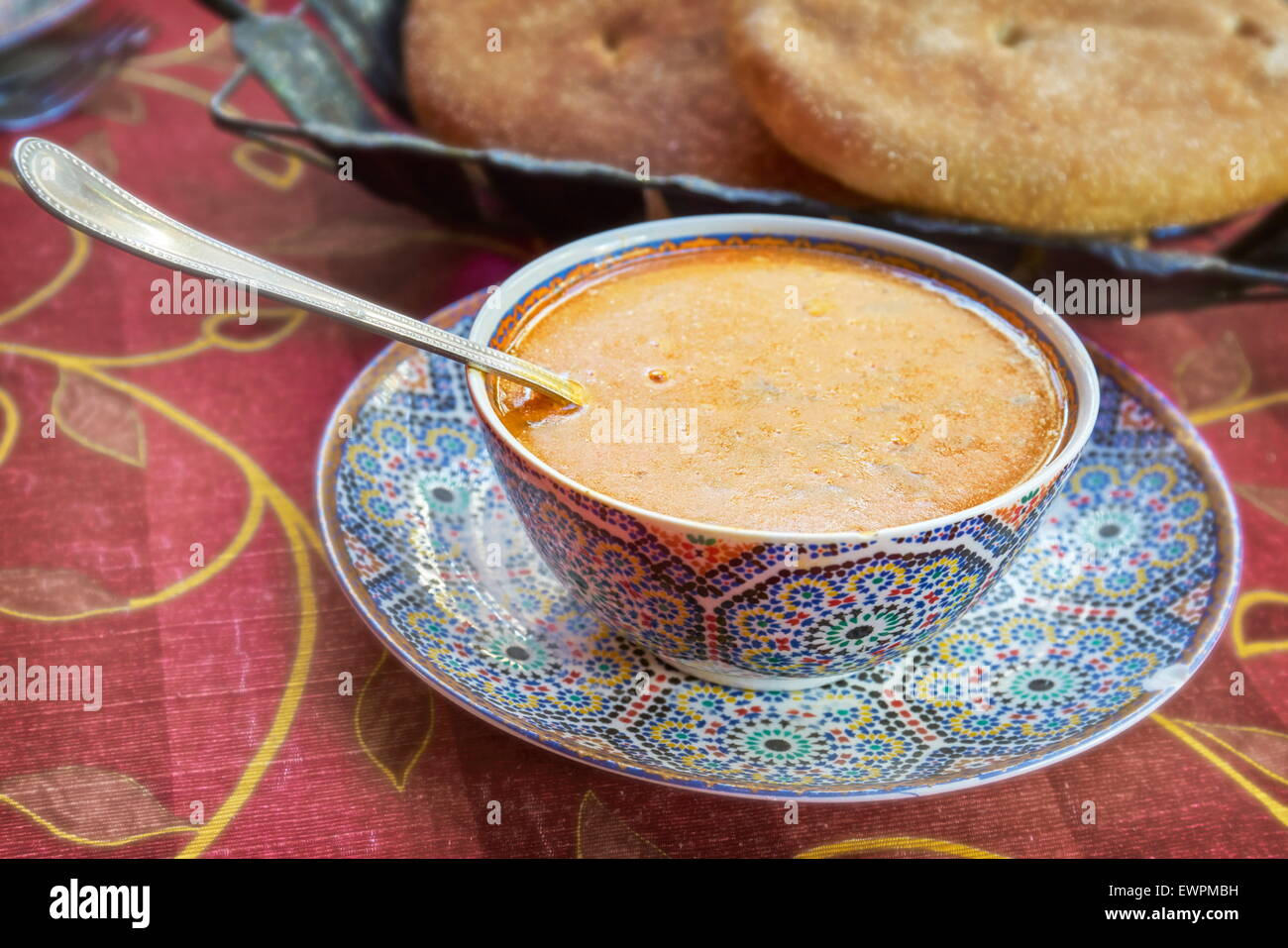 Harira, traditional moroccan soup served in restaurant in Fez Medina, Morocco - Stock Image