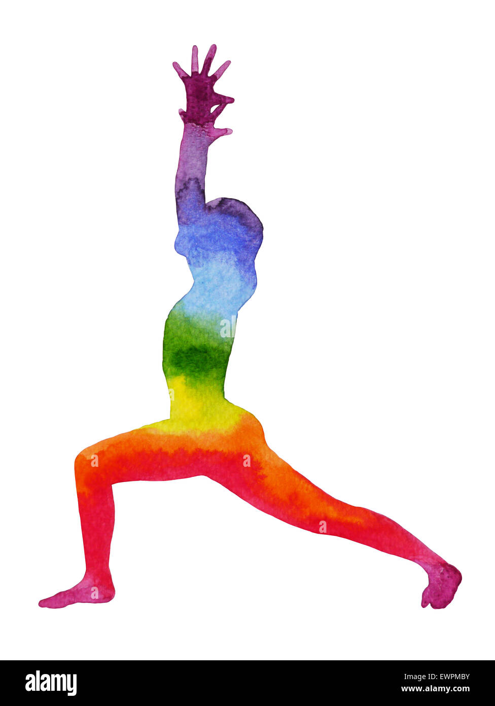 warrior pose yoga, watercolor painting chakra, strong and powerful, colorful rainbow - Stock Image