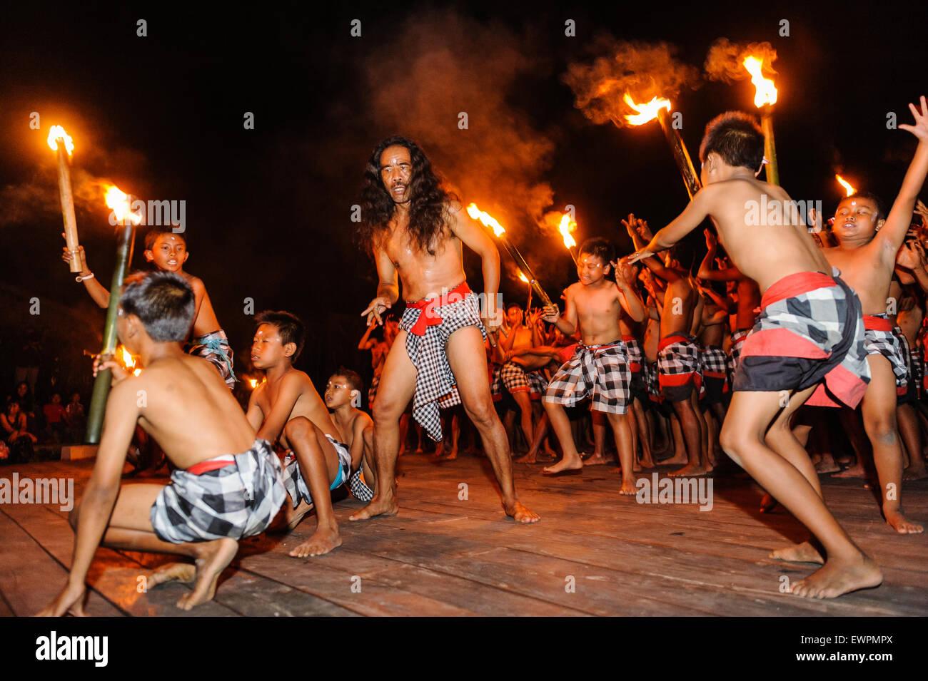 Kecak dance performance, Ubud, Bali, Indonesia. - Stock Image