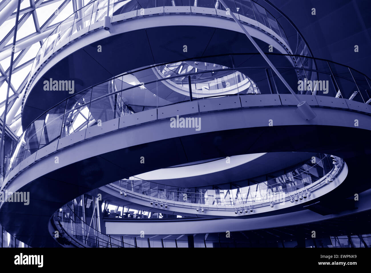 LONDON - MAY 13 2015:City Hall, London England UK.A 500-metre (1,640 ft) helical walkway, reminiscent of that in - Stock Image