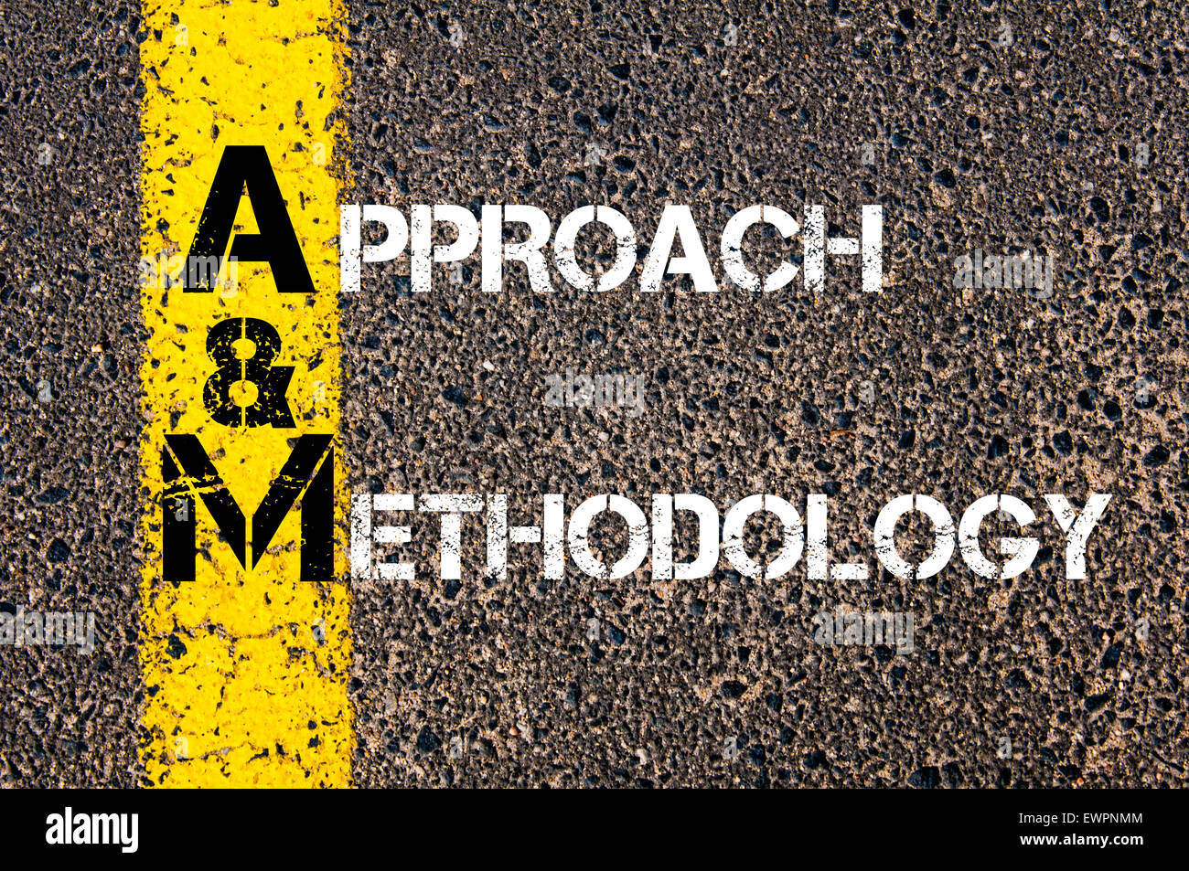 Concept image of Business Acronym AM as Approach and Methodology  written over road marking yellow paint line. - Stock Image