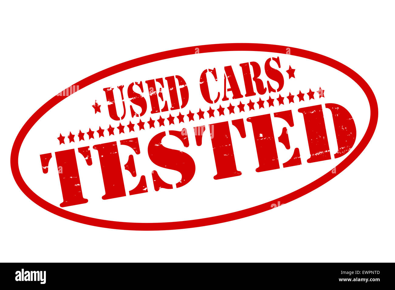 Rubber stamps with text used cars tested inside, illustration - Stock Image