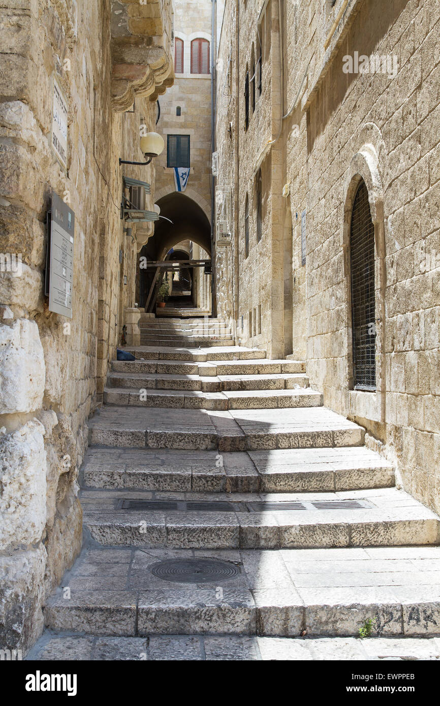 Sreet of Jerusalem Old City Alley made with hand curved stones. Israel - Stock Image