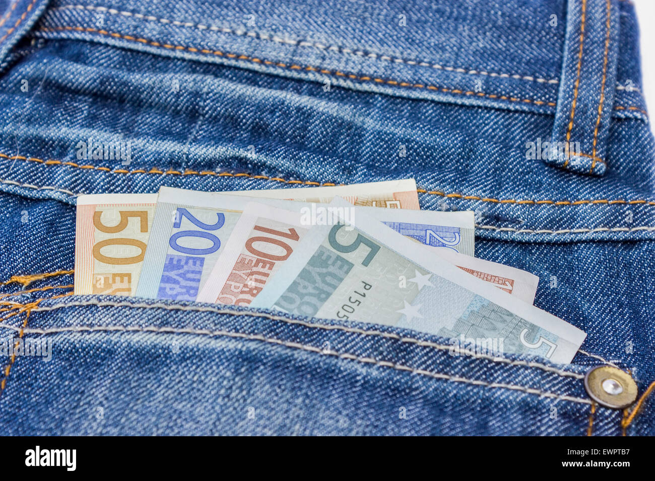 Jeans With Euro Bills In Back Pocket As Symbol For Money To Spend