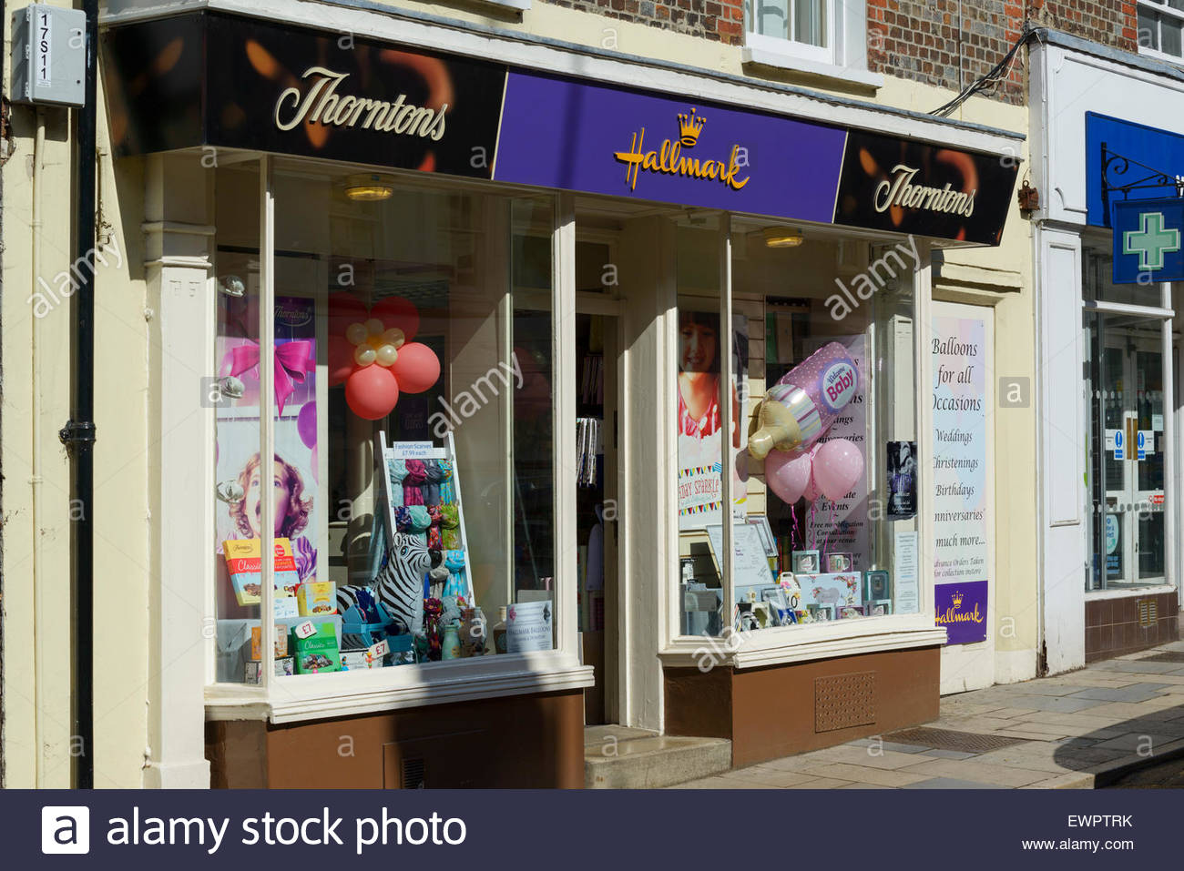 Thorntons and Hallmark cards and gifts shop, Blandford Forum, Dorset England