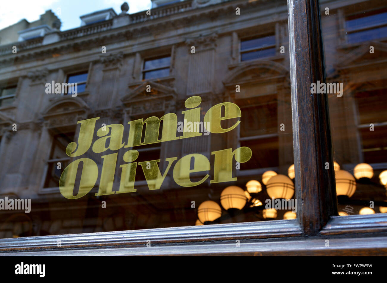 LONDON - MAY 13 2015:Jamie Oliver restaurant in City of London.He's English celebrity chef and media personality - Stock Image