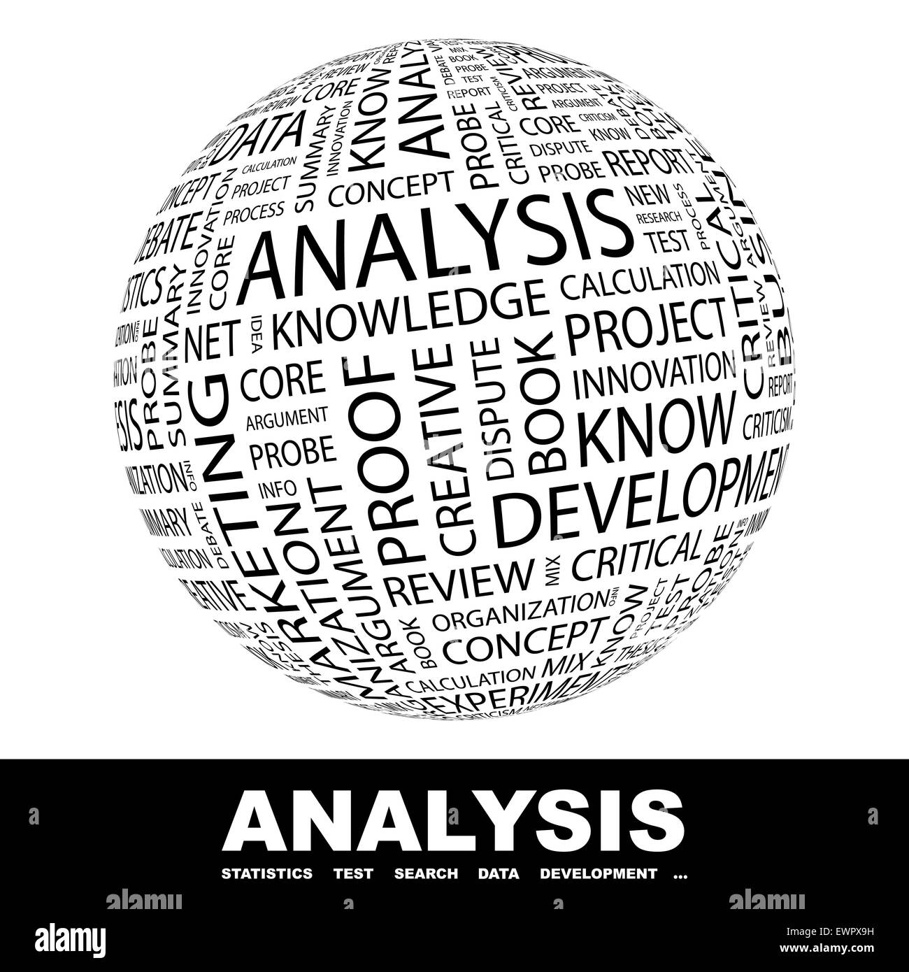 ANALYSIS. Word cloud illustration. Tag cloud concept collage. - Stock Image