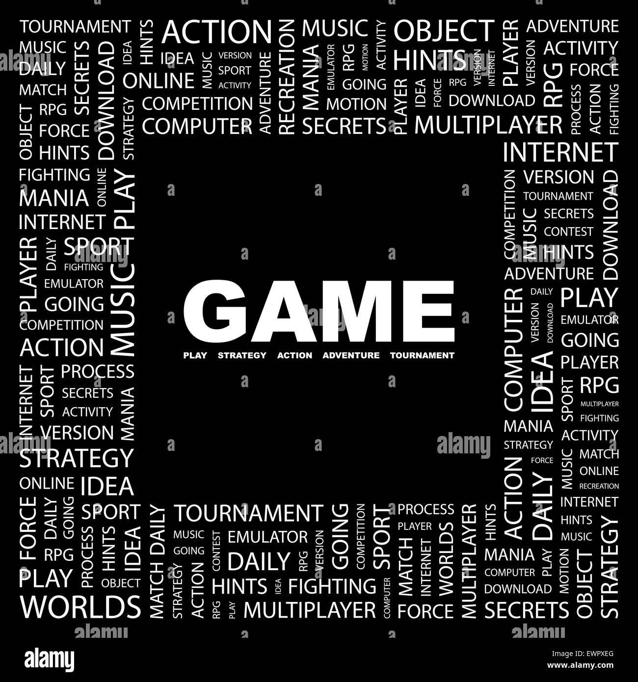 GAME. Concept illustration. Graphic tag collection. Wordcloud collage. - Stock Image