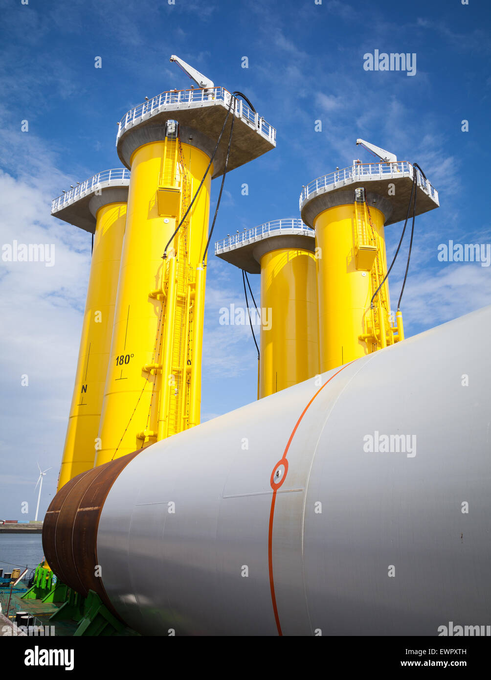 Transition pieces in Eemshaven destined for the Gode Offshore Wind Farm in Germany - Stock Image