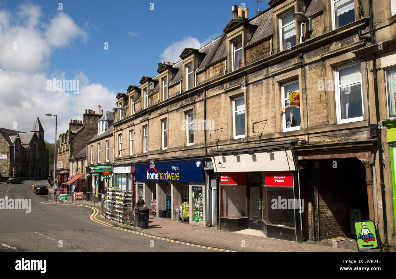 Shops in historic buildings in Hawick, Roxburghshire, Scotland, UK - Stock Image