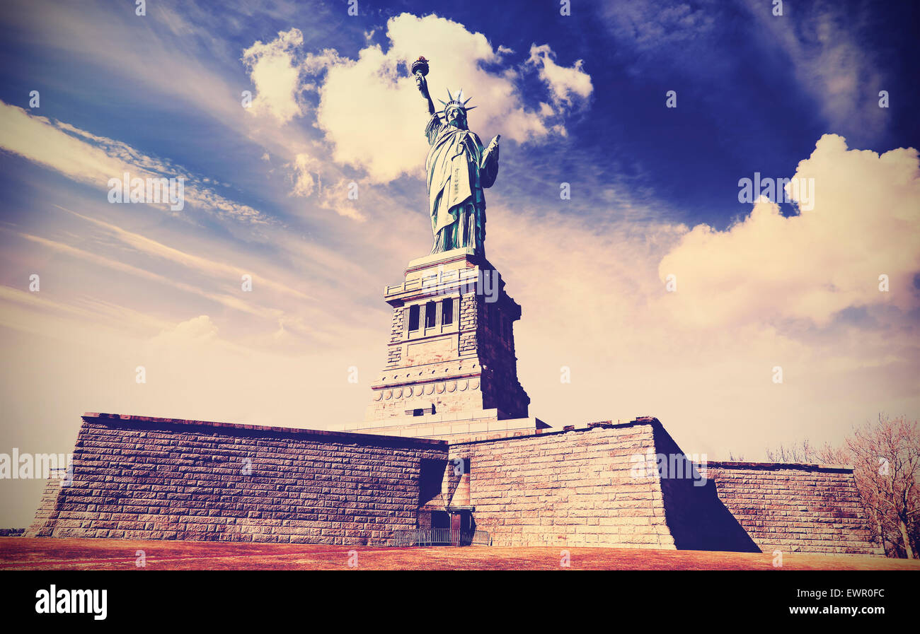 Vintage filtered photo of the Statue of Liberty in New York City, USA. - Stock Image