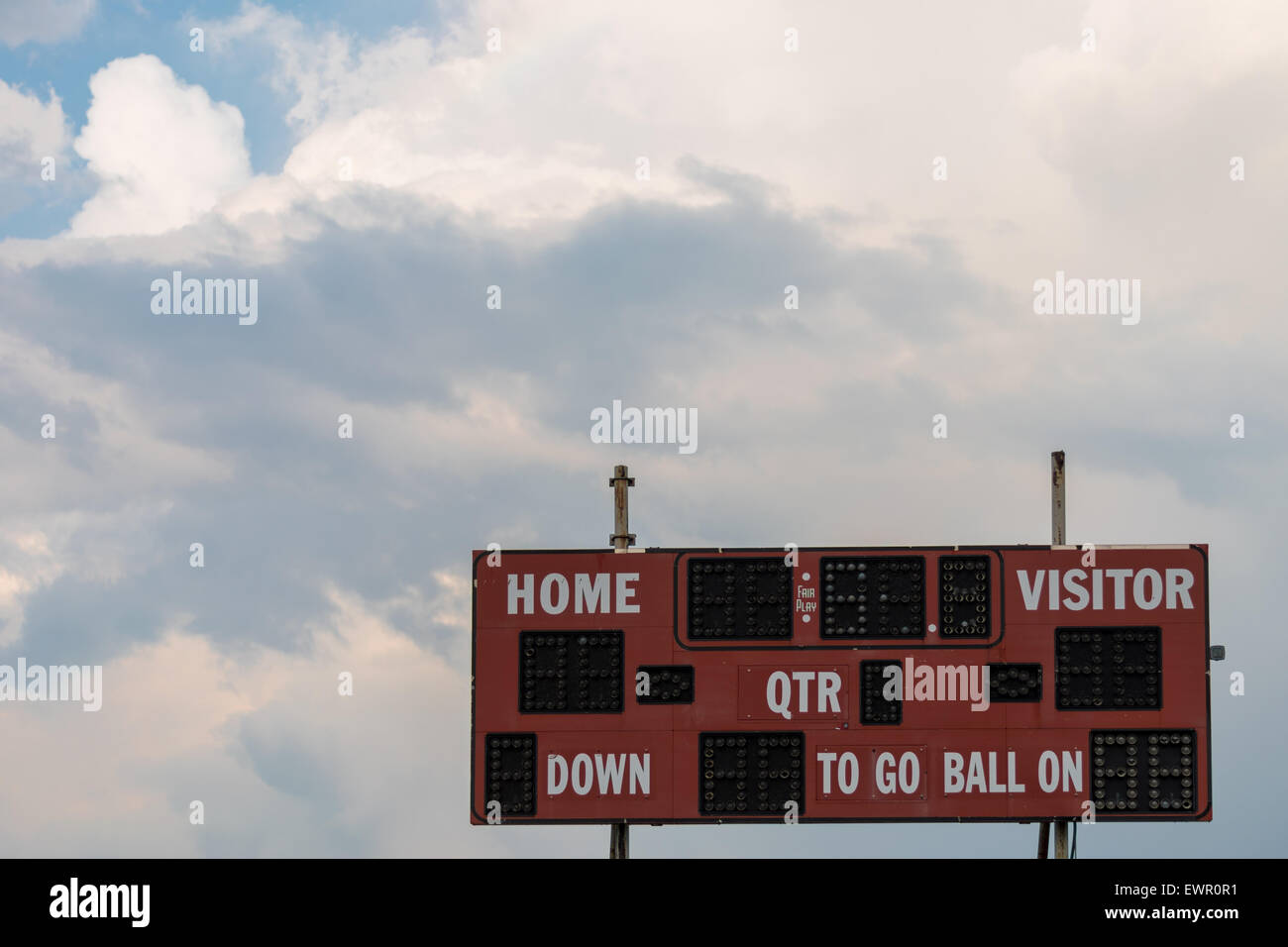 Vintage Red Football Stadium Scoreboard