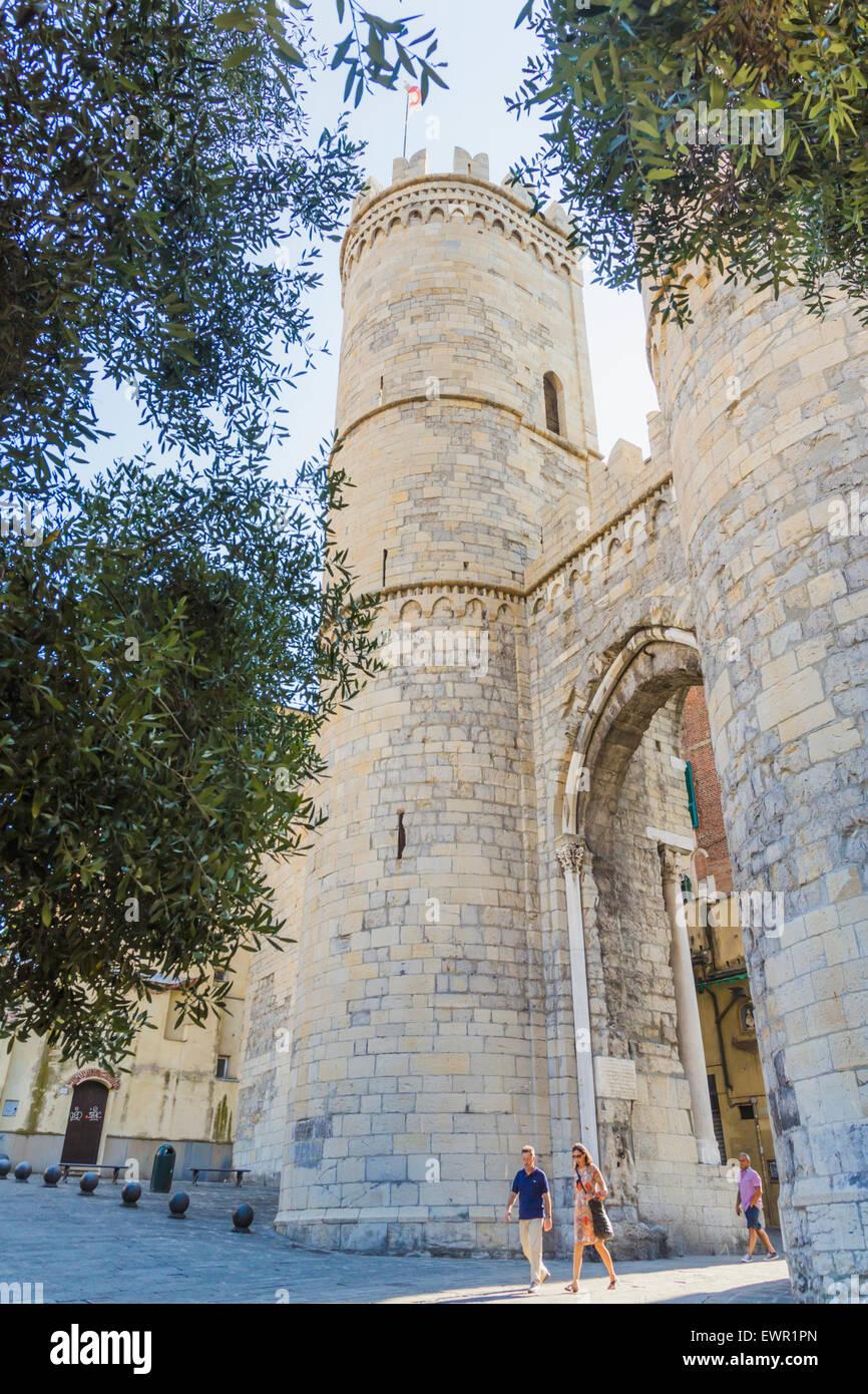 Genoa, Liguria, Italy.  The gate of the Porta Soprana. - Stock Image