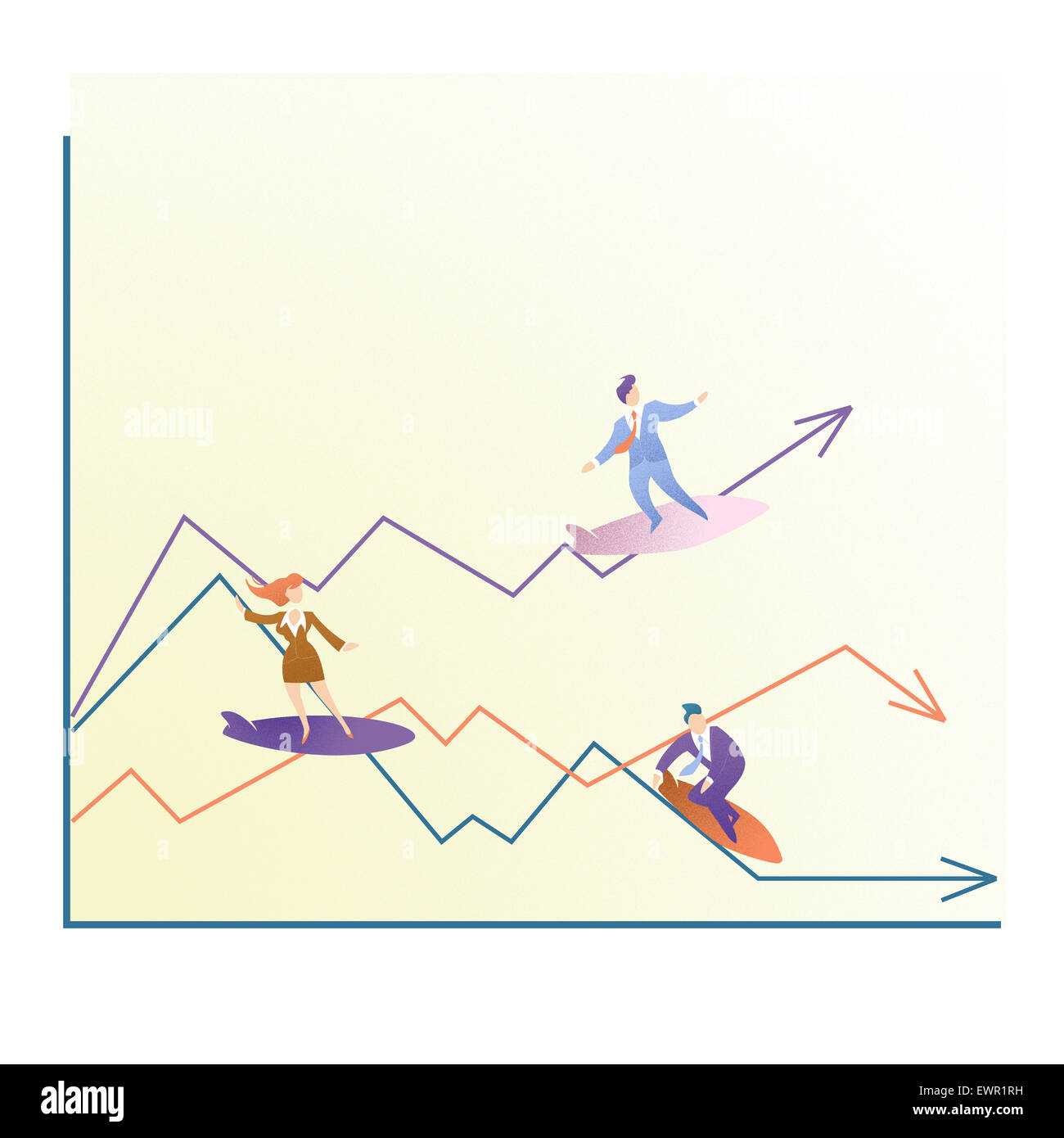 illustrative representation showing ups and downs of business - Stock Image