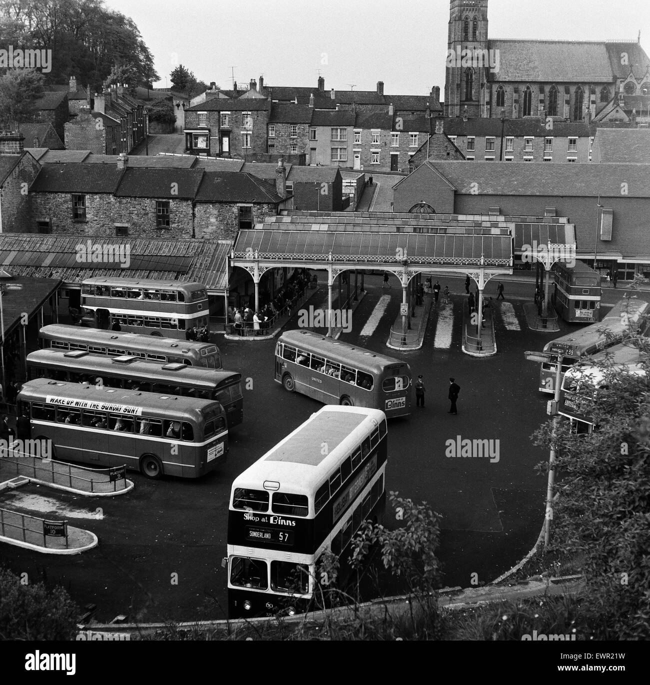 The Bus Station In Durham City County Durham 24th May 1969 Stock