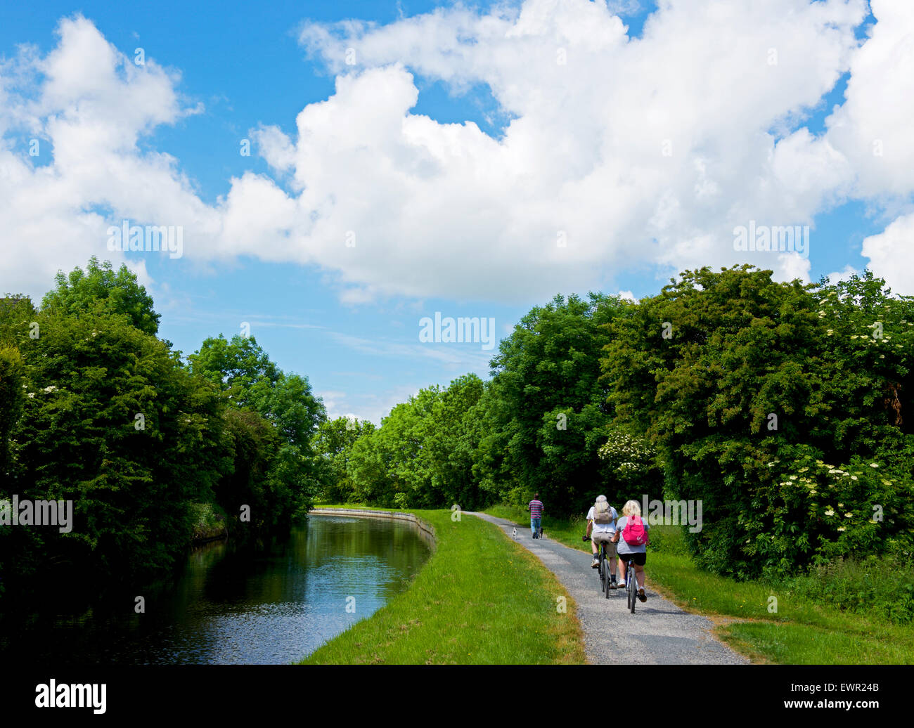 Cyclists on the towpath of the Leeds and Liverpool Canal near Barnoldswick, Lancashire, England UK Stock Photo