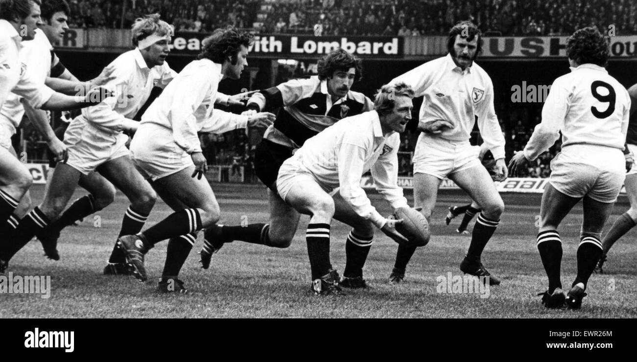 Swansea's Welsh international Phil Llewellyn feeds his scrum half, Huw Davies.  29th April 1978. - Stock Image