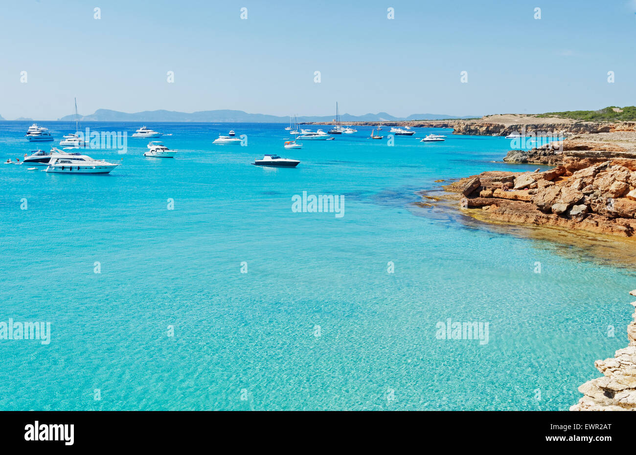 Formentera turquoise waters, Formentera, Balearic Islands, Spain - Stock Image