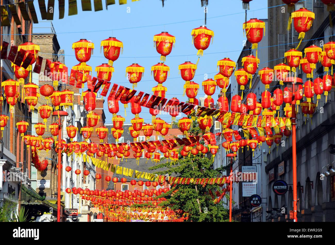 London, UK, 22 September 2014, Chinese Lanterns hanging in Gerrard Street in China Town, Soho. - Stock Image