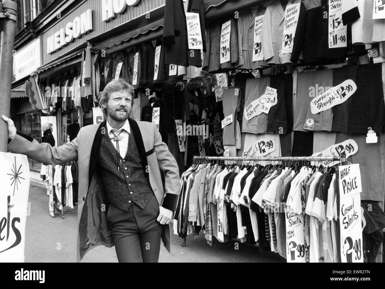 Dave Griffin display manager of Nelson House, a mens clothing shop in Dale End, Birmingham. The shop does a roaring - Stock Image