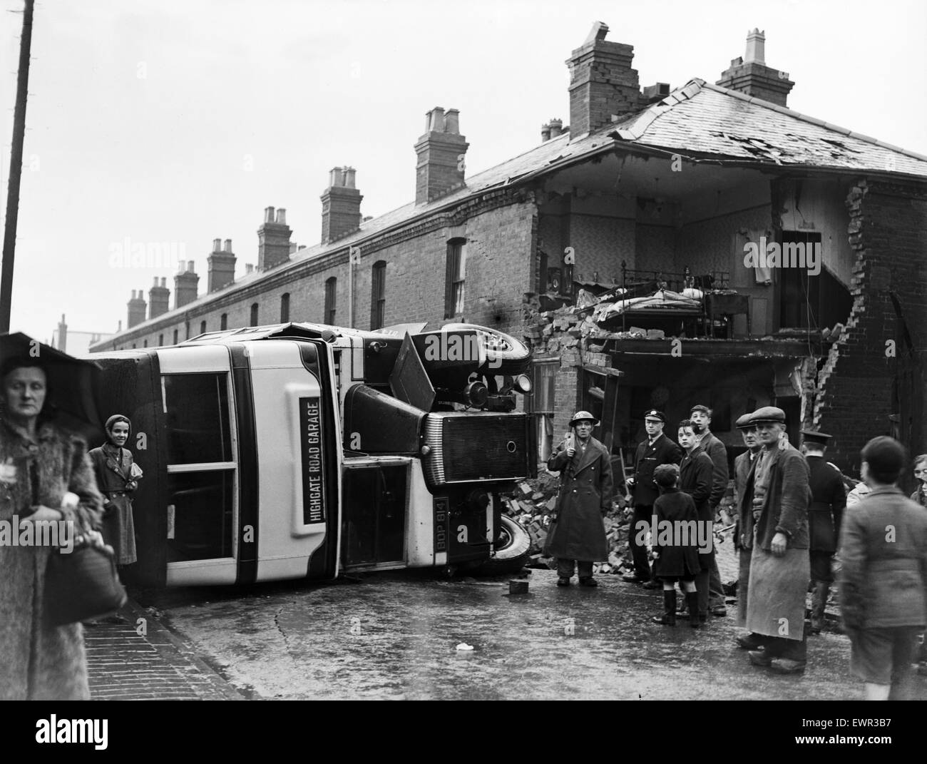 Birmingham Blitz  during the Second World War. A bus over turned in Sparbrook following an air raid. 20th November - Stock Image