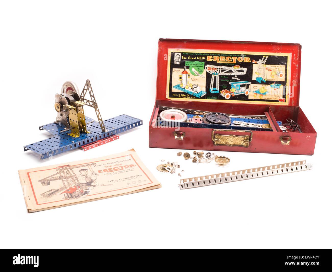Erector Set, metal construction toy, by Alfred Carlton Gilbert of A.C. Gilbert Company aka Gilbert Toys - Stock Image