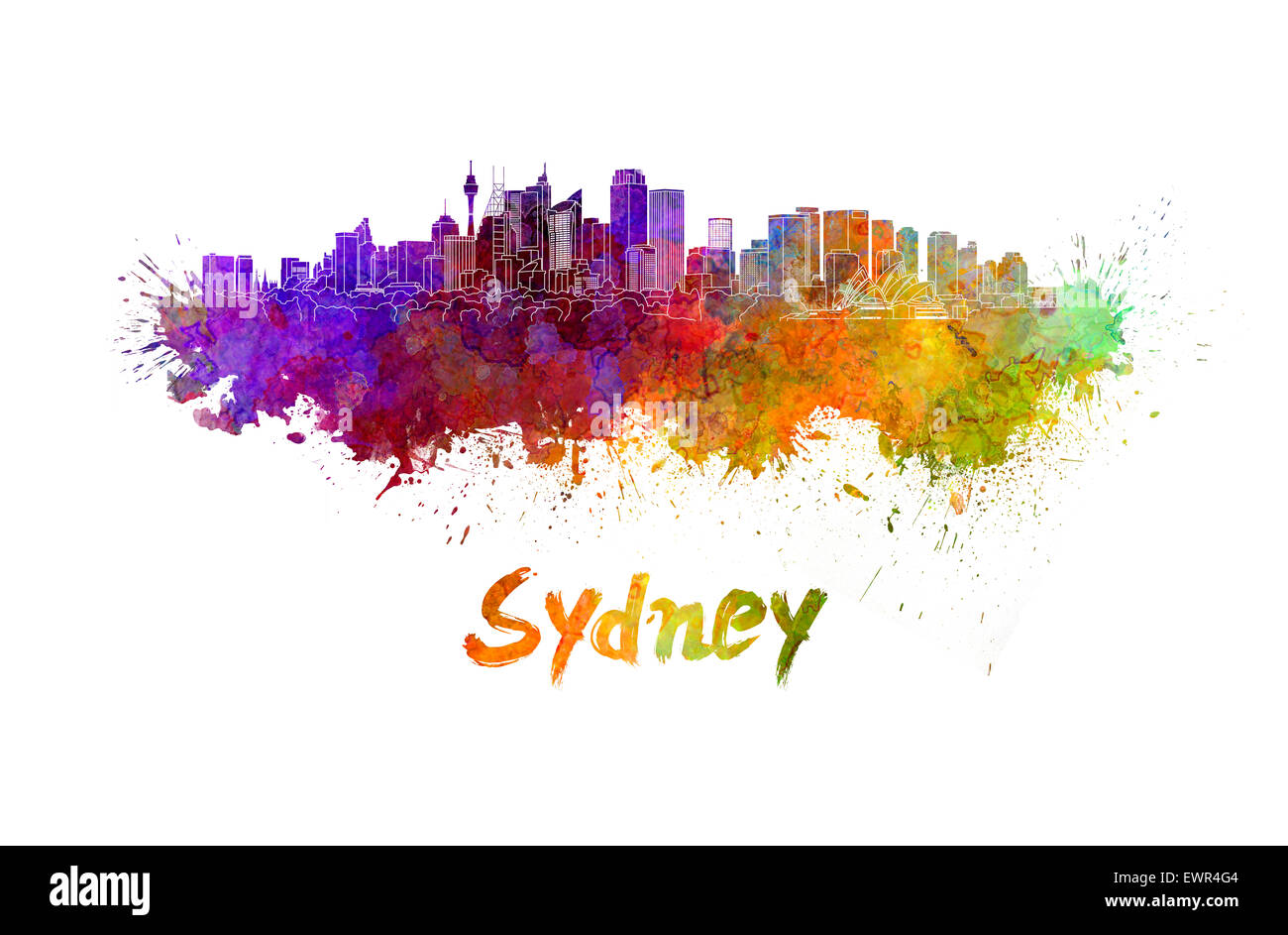 Sydney v2 skyline in watercolor splatters with clipping path - Stock Image